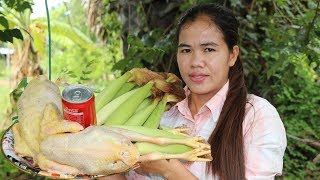 Amazing Cooking Roasted Chicken With Baby Corn Recipe- Roasted Chicken Recipes -Primitive Technology