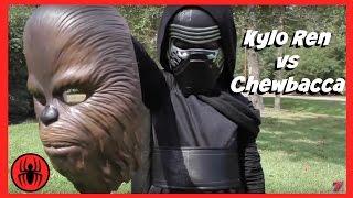 Kylo Ren Vs Chewbacca Superheroes Battle in Real Life   New STAR WARS 7 Fight   SuperHero Kids