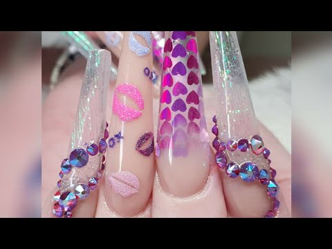 Extreme Length Acrylic Extensions - Valentine Theme - Textured Nail Art