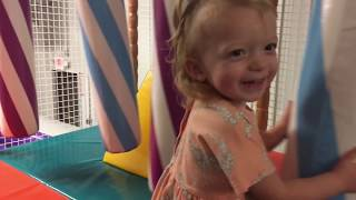 FUN VIDEO FOR KIDS funny baby Sophie has fun bouncing and jumping, indoor amusement park for kids