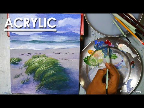 Acrylic Painting : Composition on A Beautiful Beach with Grasses