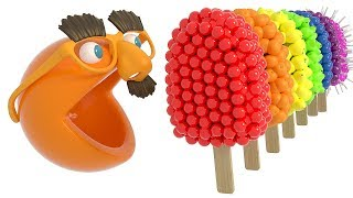 Enjoy learning colors with Pac man eating ice cream and Finger Family