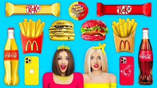 Rich Food VS Broke Food Challenge | Eating Rich and Normal Snacks All Day by RATATA