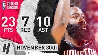 James Harden Full Highlights Rockets vs Spurs 2018.11.30 - 23 Pts, 10 Ast, 7 Rebounds!