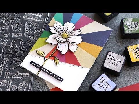 White Flower Watercoloring - Simon September 2019 Card Kit