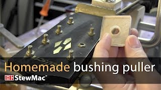 Watch the Trade Secrets Video, Homemade bushing puller to protect the peghead