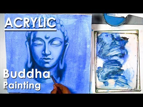 Lord Buddha Face Painting | Acrylic on Canvas