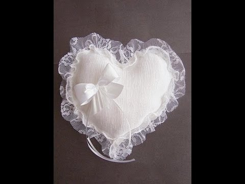 MAKE A HEART SHAPED BRIDAL RING BEARER PILLOW. - YouTube