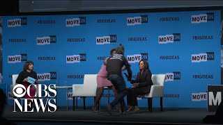 Protester grabs mic from Kamala Harris during California convention