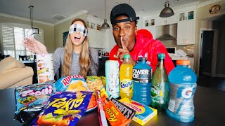 GUESSING THE WORLD'S MOST RANDOM SNACKS BLIND FOLDED (extremely hard)