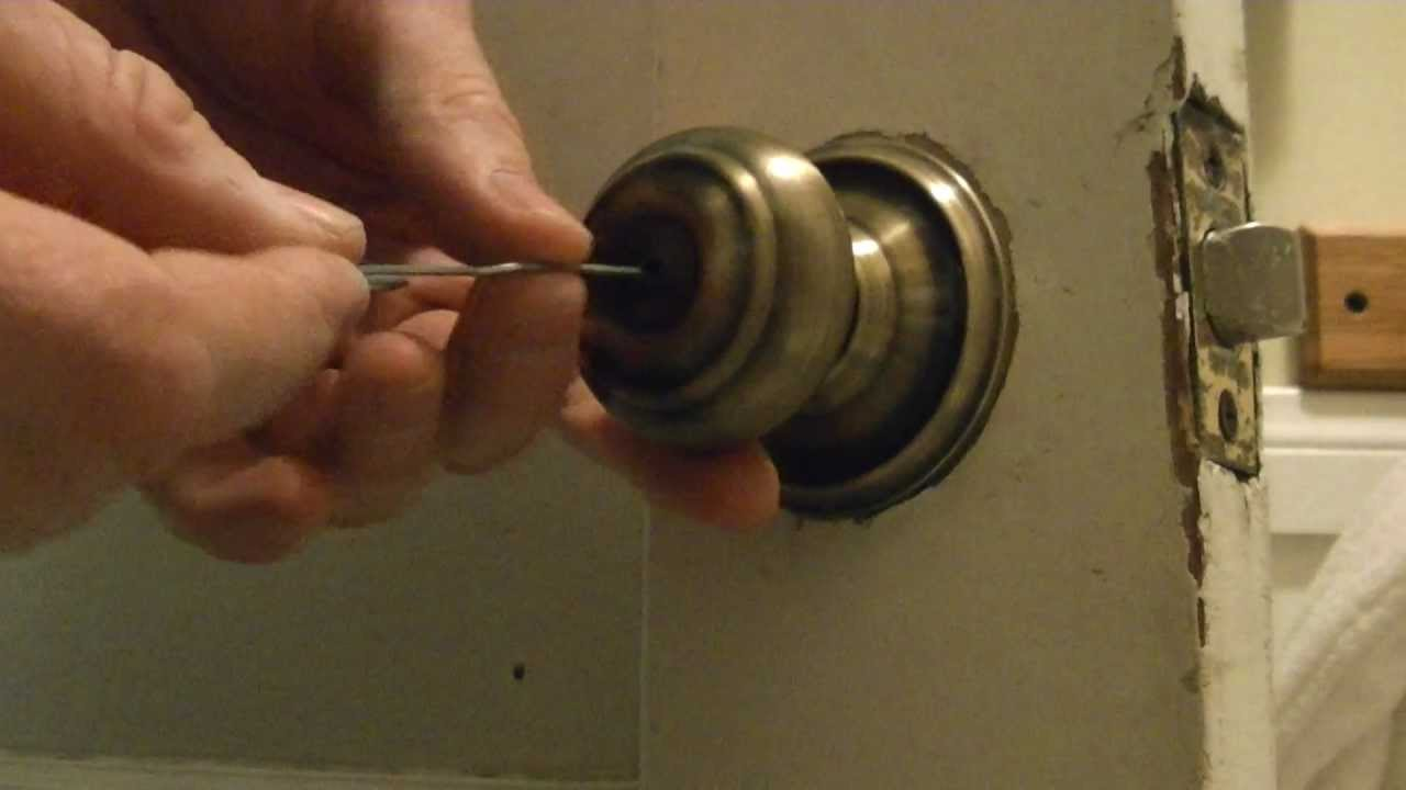 How to pick a bathroom door lock youtube - Bedroom door knobs with key lock ...