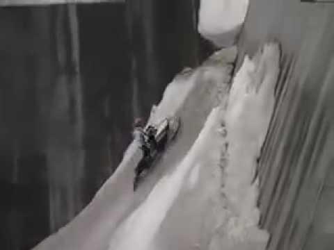 Snowmobiling in a Dam