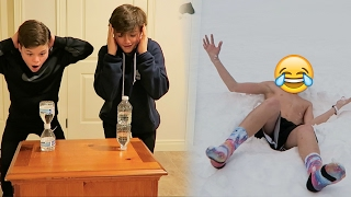 WATER BOTTLE FLIP GAME OF H.O.R.S.E!! (LOSER JUMPS IN SNOW)