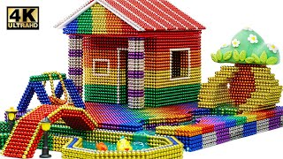 DIY - How To Build Hut House and Fish Pond From Magnetic Balls (Satisfying)   Magnet World 4K