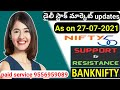 Daily stock market updates|as on 27-07-2021|nifty|bank nifty|support & resistance|nifty - bank nifty
