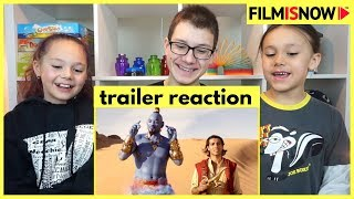 d-three KIDS React to ALADDIN Official Trailer | Trailer Reaction