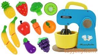 Learn Fruits Vegetables Toy Blender Playset Wooden Velcro Toy Baby Birthday Cake Kids Nursery Rhymes