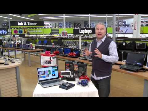 Technology host Mike Agerbo showcases several top tech gifts on Staples TechTV to help customers better understand product features for the holiday season.