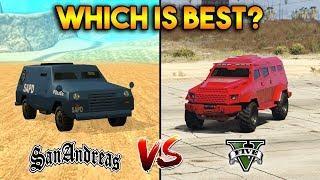GTA 5 INSURGENT VS GTA SAN ANDREAS FBI TRUCK : WHICH IS BEST?