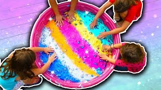 Giant Glitter Slime How To! 100 Pound Giant Slime Challenge!