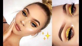 Gold Glitter Cut Crease Makeup Tutorial!