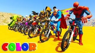 LEARN COLOR MOUNTAIN BIKE w/ Superheroes cartoon for kids and babies - YouTube