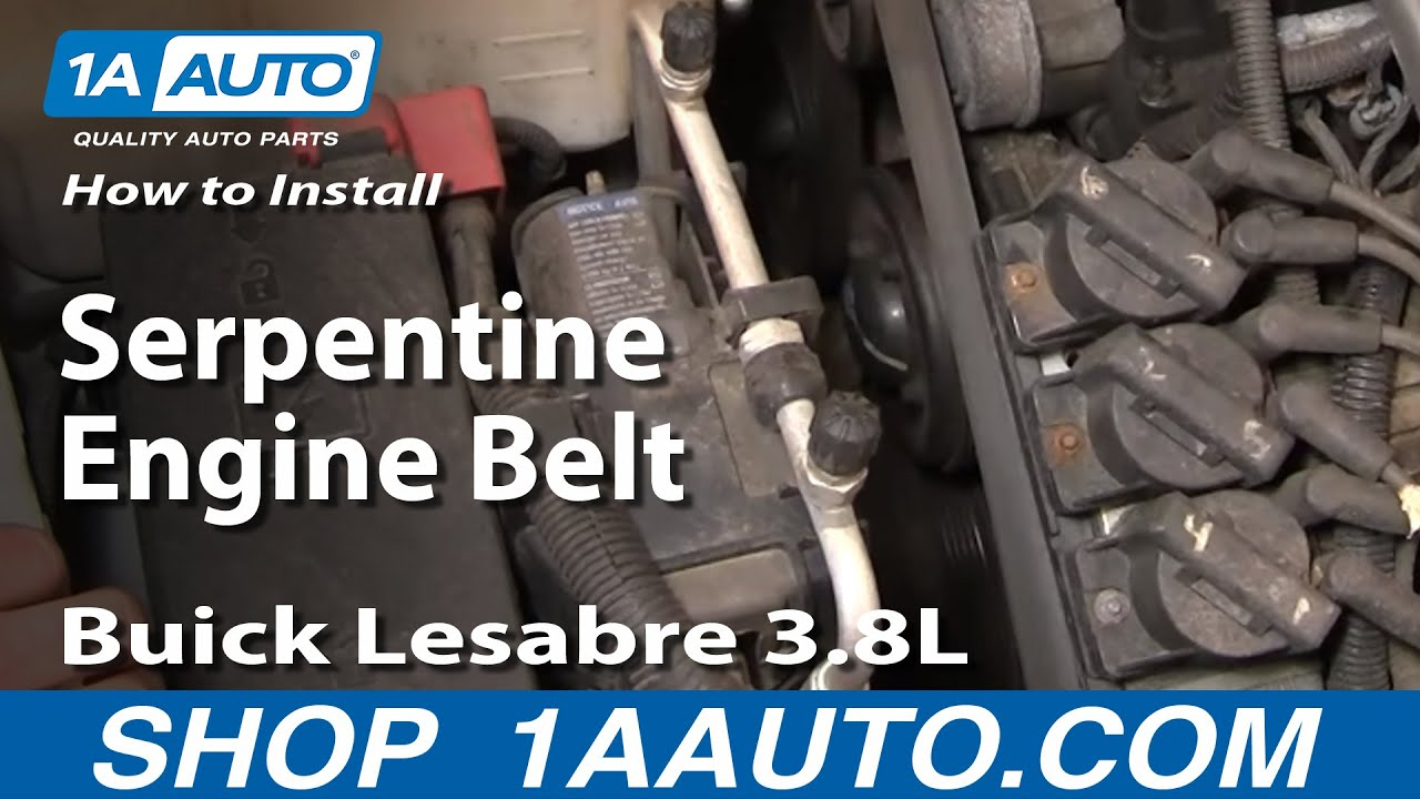 how to install repair replace serpentine engine belt buick lesabre 3 8l 00 05 youtube. Black Bedroom Furniture Sets. Home Design Ideas