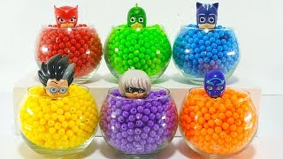 Learn Colors with Pj Masks Toys for Kids. Super Wings Toys. Magic Liquid. Colorful Beads.