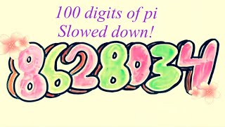 100 digits of pi slowed down