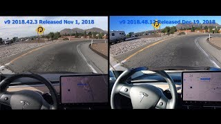 Tesla Autopilot Even Better on Curve of Death - Version 2018.48 vs Version 2018.42