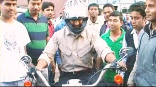 MS Dhoni takes a ride on his Harley Davidson