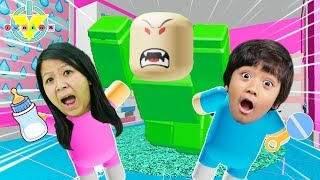 RYAN AS A BABY IN ROBLOX! Roblox Baby Simulator Let's Play with Ryan's Mommy