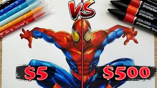 $5 vs $500 MARKER ART | Cheap VS Expensive!! Which is WORTH IT?