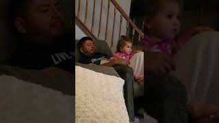 """Watching """"5 Little Monkeys"""" with daddy"""
