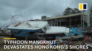 Hong Kong coast ravaged by Typhoon Mangkhut – officially the city's most intense storm ever