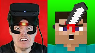 Minecraft VR But My FACE Feels PAIN (Haptic Feedback)