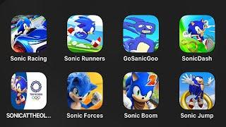Sonic Racing,Sonic Runners,Go Sanic Goo,Sonic Dash,Olympic Games,Sonic Forces,Sonic Boom,Sonic Jump