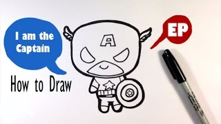 How to Draw a Cute Captain America - Easy Pictures to Draw
