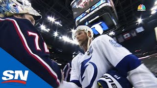 Blue Jackets Shake Hands With Lightning After Sweep, 1st Playoff Series Win