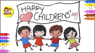 How to draw Children Day Drawing | Easy Drawing | Learn Colors