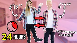 SHORT GIRL WEARS BOYFRIENDS CLOTHES FOR 24 HOURS!