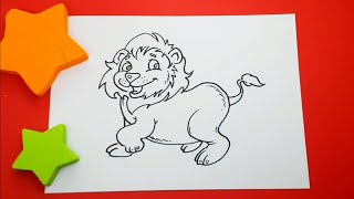 DIY How to Draw a Lion Cartoon style.