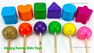 Learn Colors and Shapes with Play Doh Lollipops Surprise Toys Shopkins 2 Gift Boxes Kinder Eggs