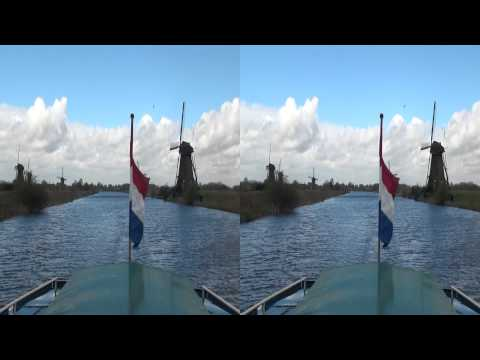 Windmills at Kinderdijk in stereoscopic 3D (yt3d)