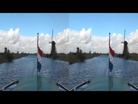 Windmills at Kinderdijk in stereoscopic 3D (yt3d)