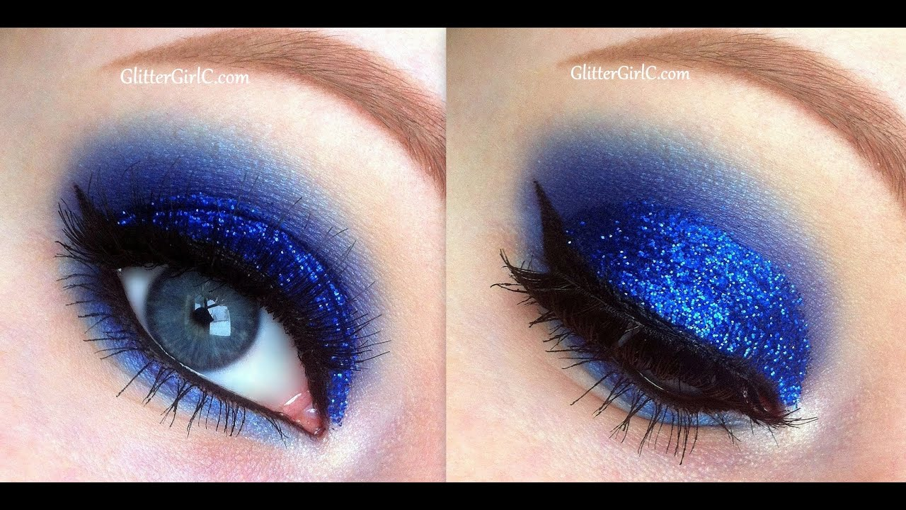 Blue Glittery Prom Makeup - YouTube