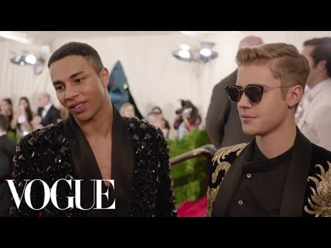 Justin Bieber and Olivier Rousteing at the Met Gala 2015 | China: Through the Looking Glass