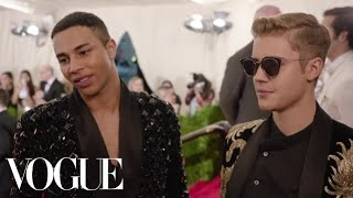 Justin Bieber and Olivier Rousteing at the Met Gala 2015   China: Through the Looking Glass