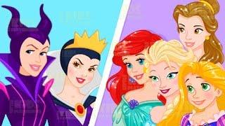 Disney Princesses vs Villains - Elsa Rapunzel Ariel Snow White Dress Up Game for Kids