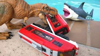 T Rex attacks Lego city train